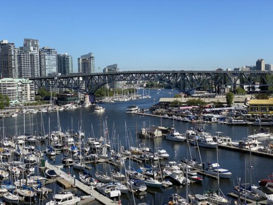 Boats and the vancouver City Skyline from the marina