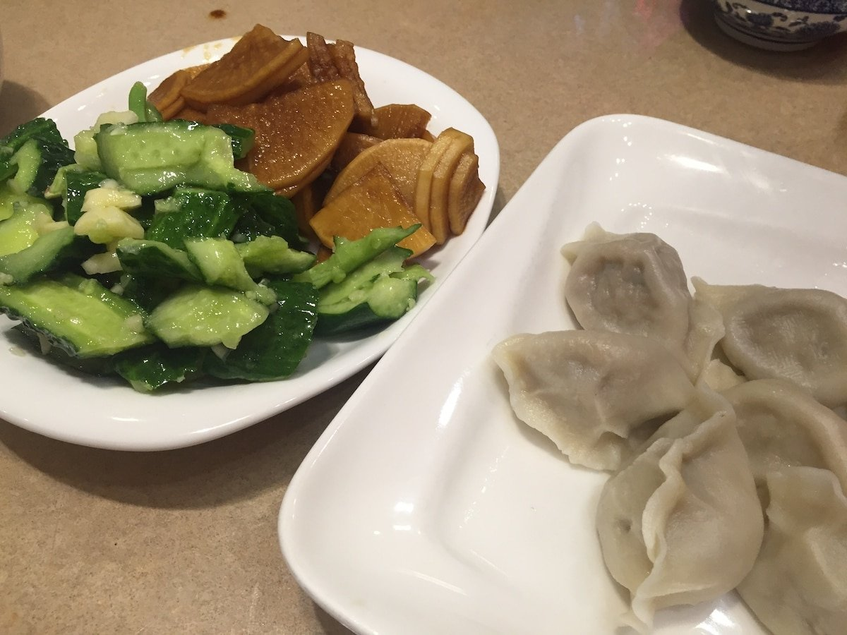 Dumplings and veggies at Richmond's Hao's Lamb Restaurant | Photo: Carolyn Heller