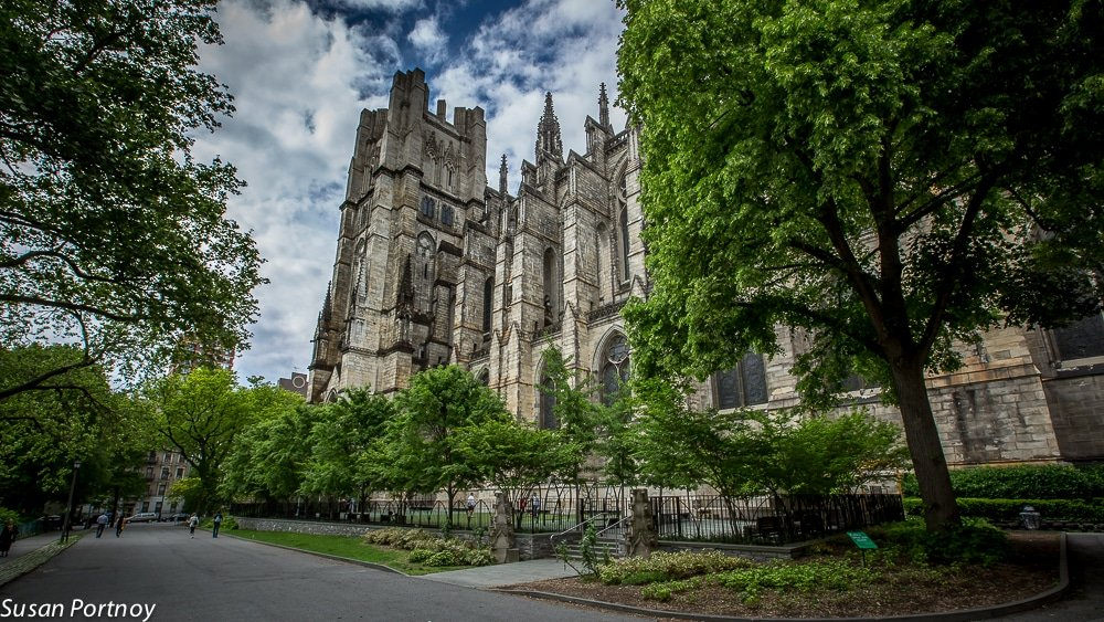 The south side exterior of The Cathedral of St. John the Divine in NYC