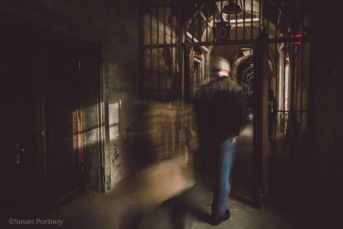 People walking in Eastern State Penitentiary