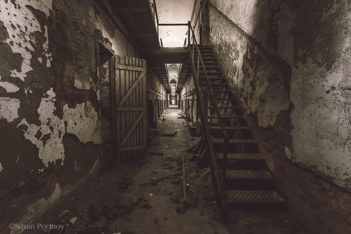Down a hall in Eastern State Penitentiary
