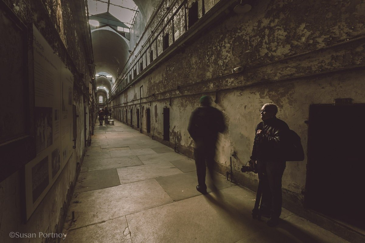 Two guests at Eastern State Penitentiary