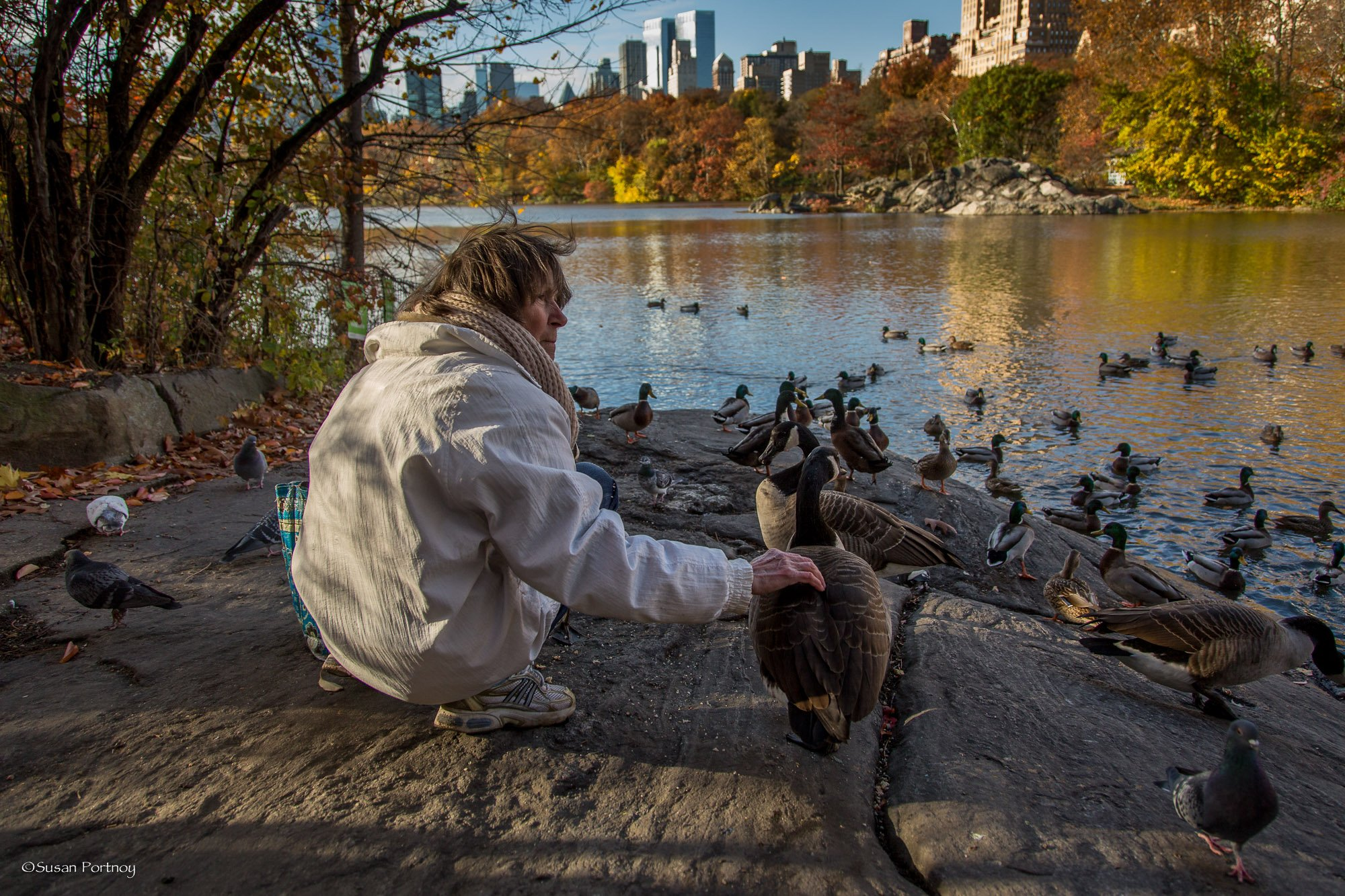 Lilian Bobo and friend and goose in Central Park