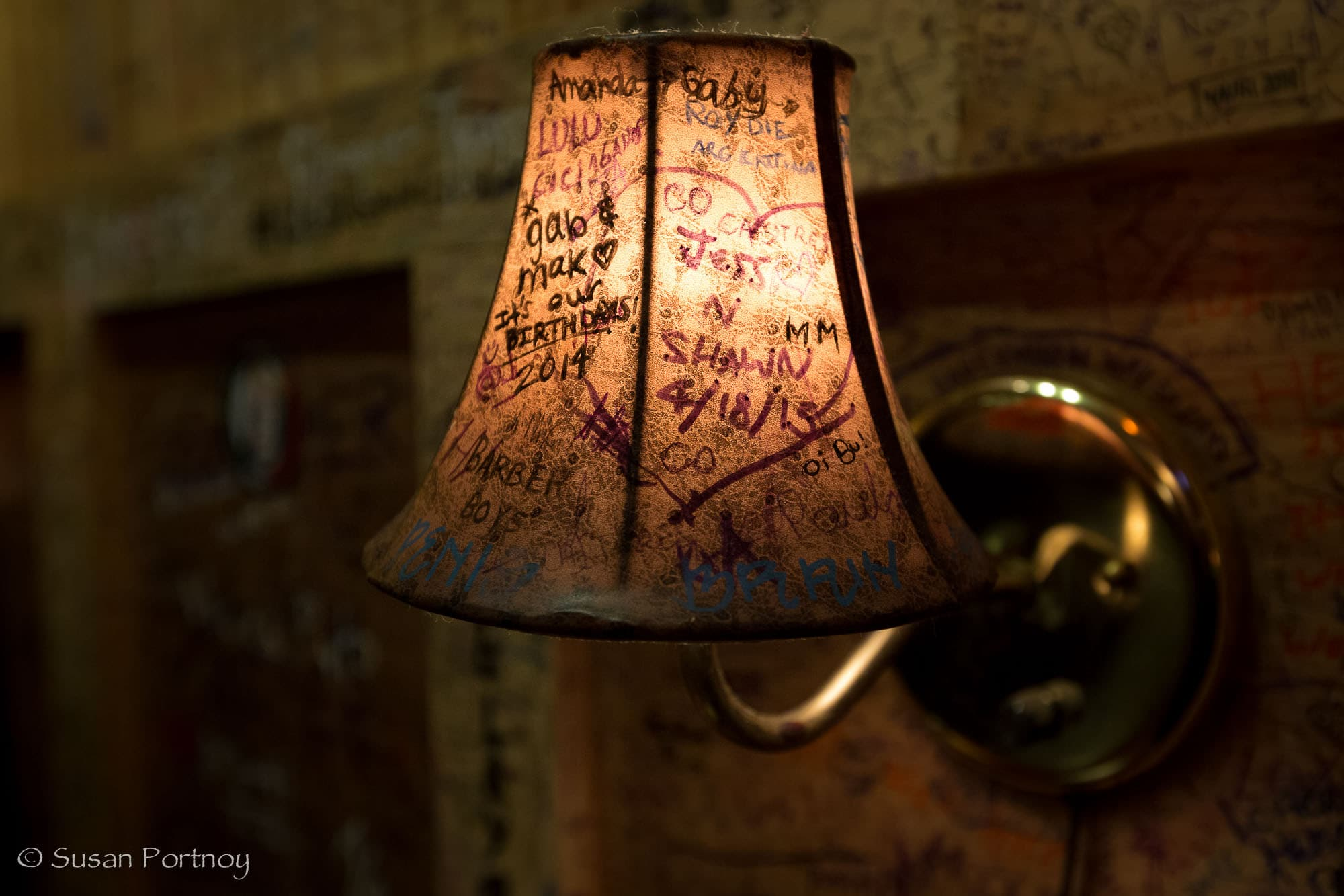 Lamp with Graffiti at Burger Joint in New York City