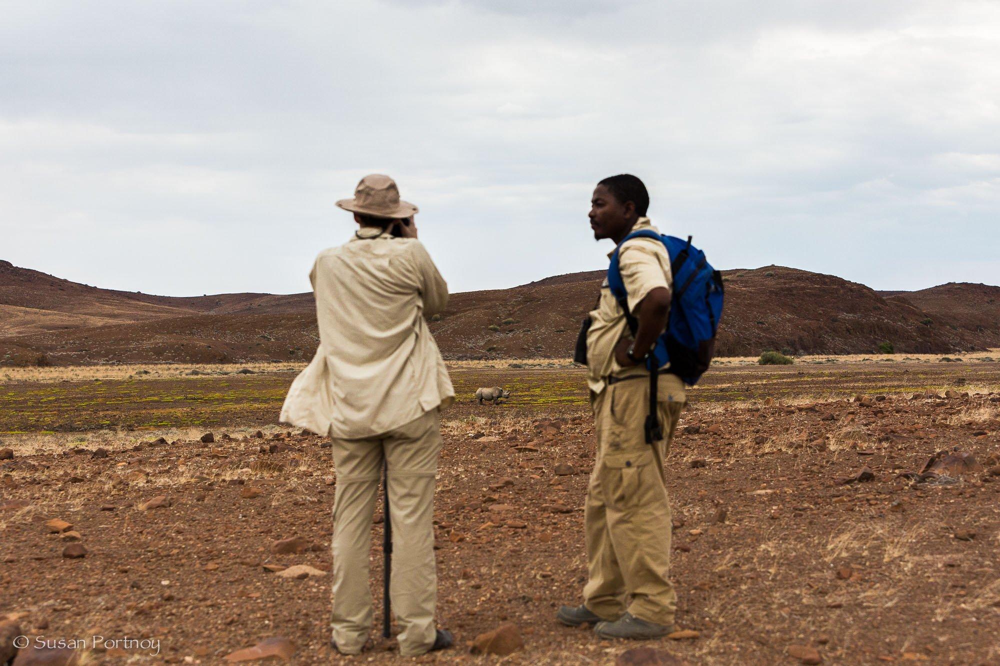 Susan Portnoy and Bons Roman photograph black rhino in Palmwag, Namibia