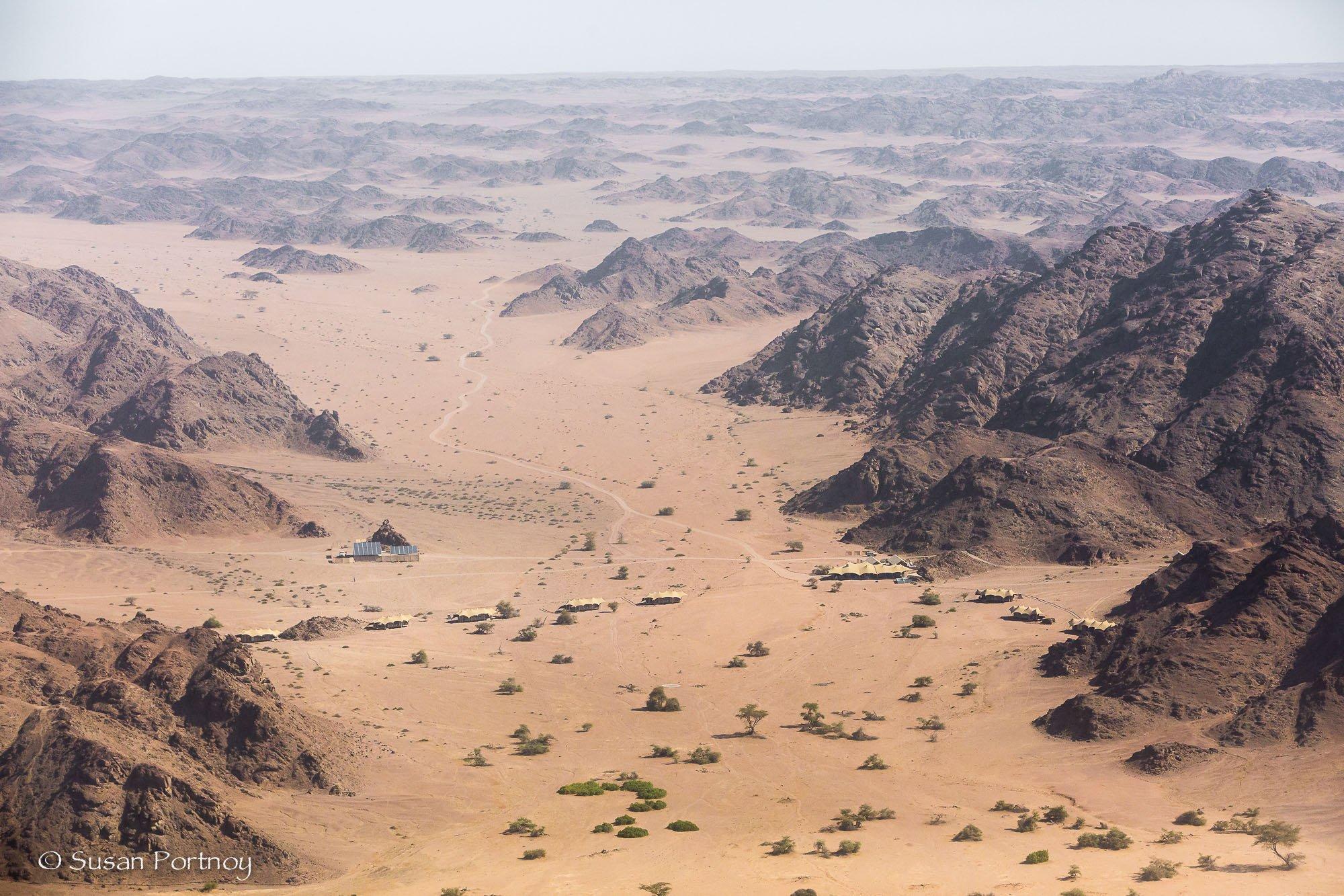 Aerial view of Hoanib Skeleton Coast Camp, Namibia