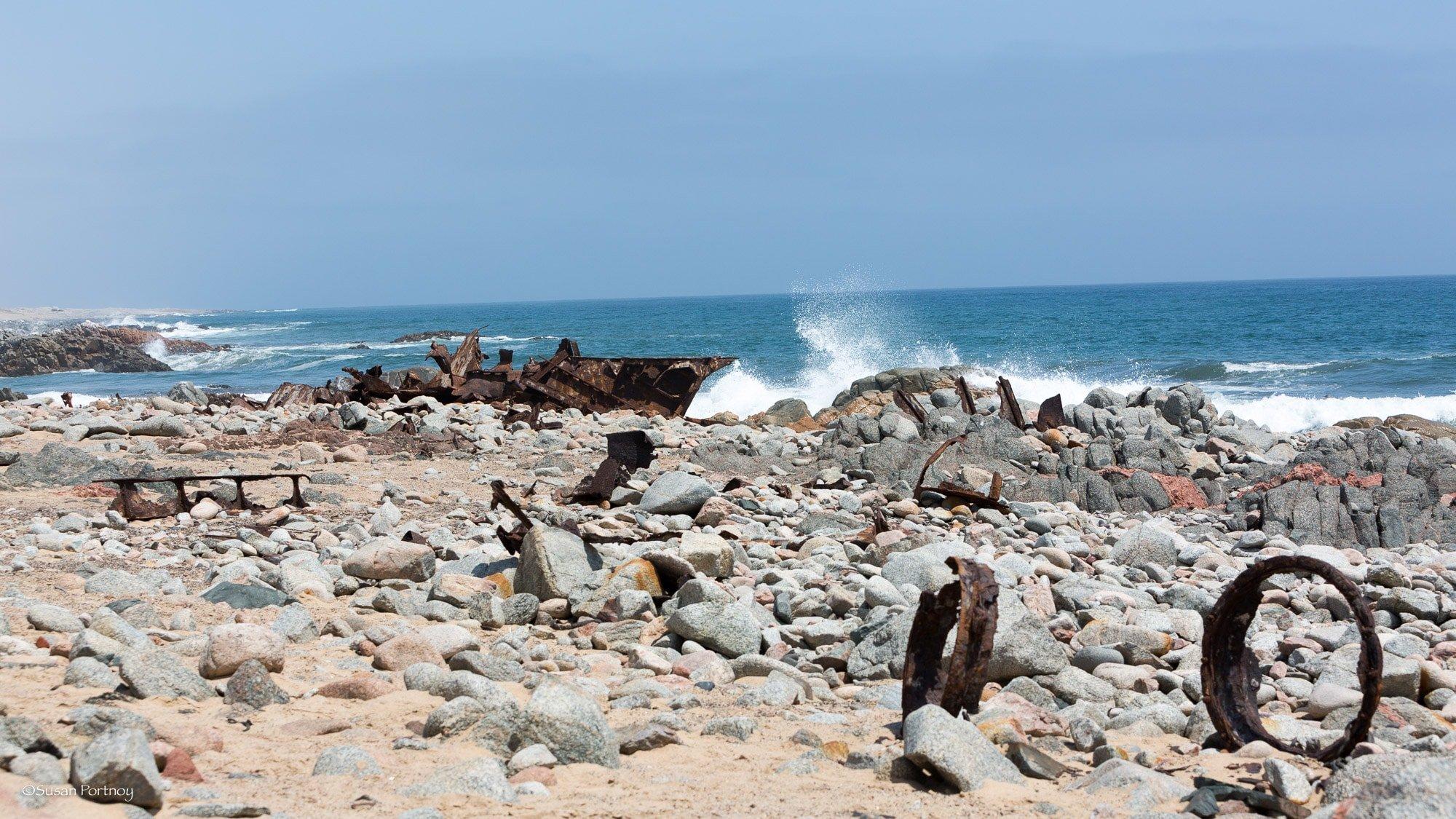 Boat wreckage along the Skeleton Coast