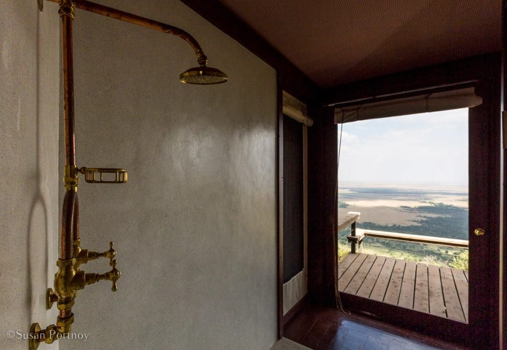 Angama Mara shower in a luxury tent - Kenya Safari Lodges with Spectacular Views -8213