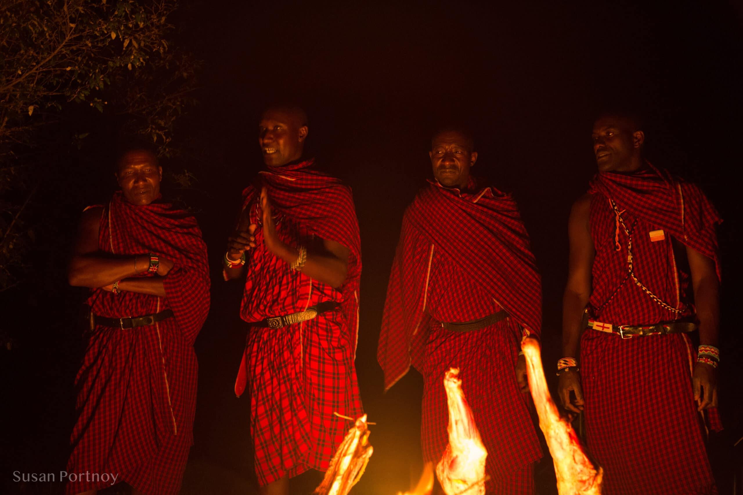 Maasai Men sharing their culture around the campfire - Kenya Wildlife Safari_-460801