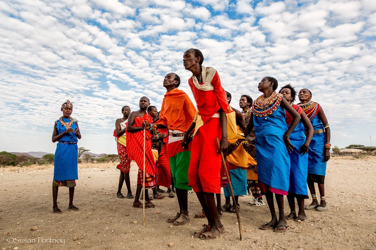 Samburu living near the Shaba reserve dance for guests