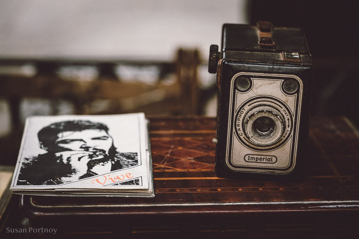 Vintage camera on a table at the market Plaza des Armes in Havana