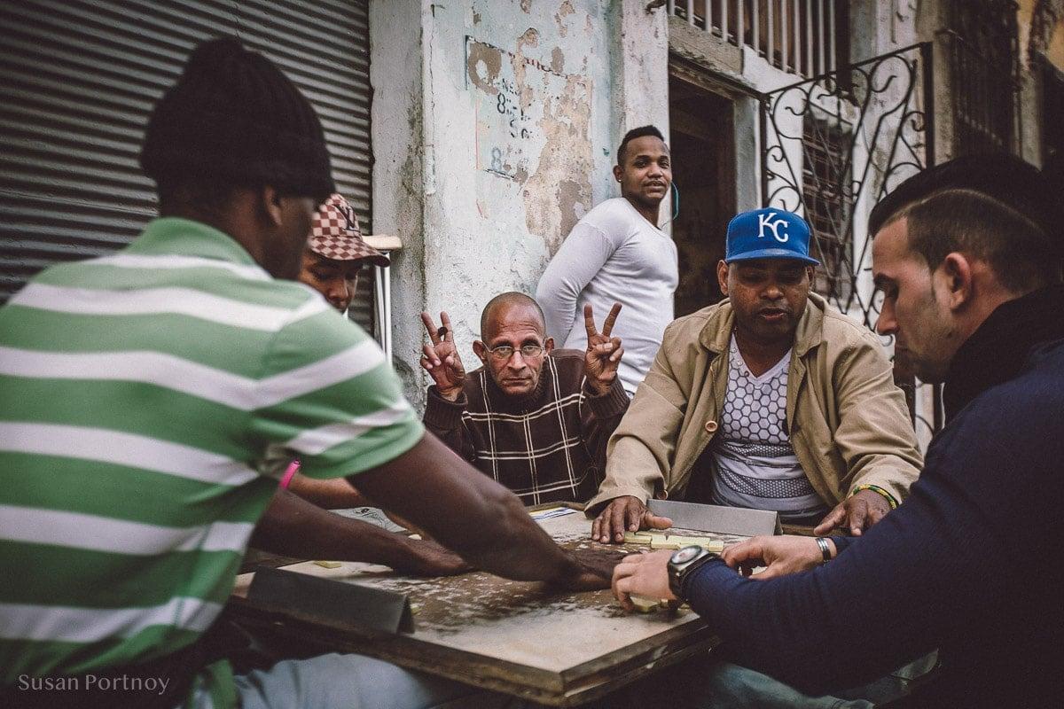 Men playing dominos in Havana Central