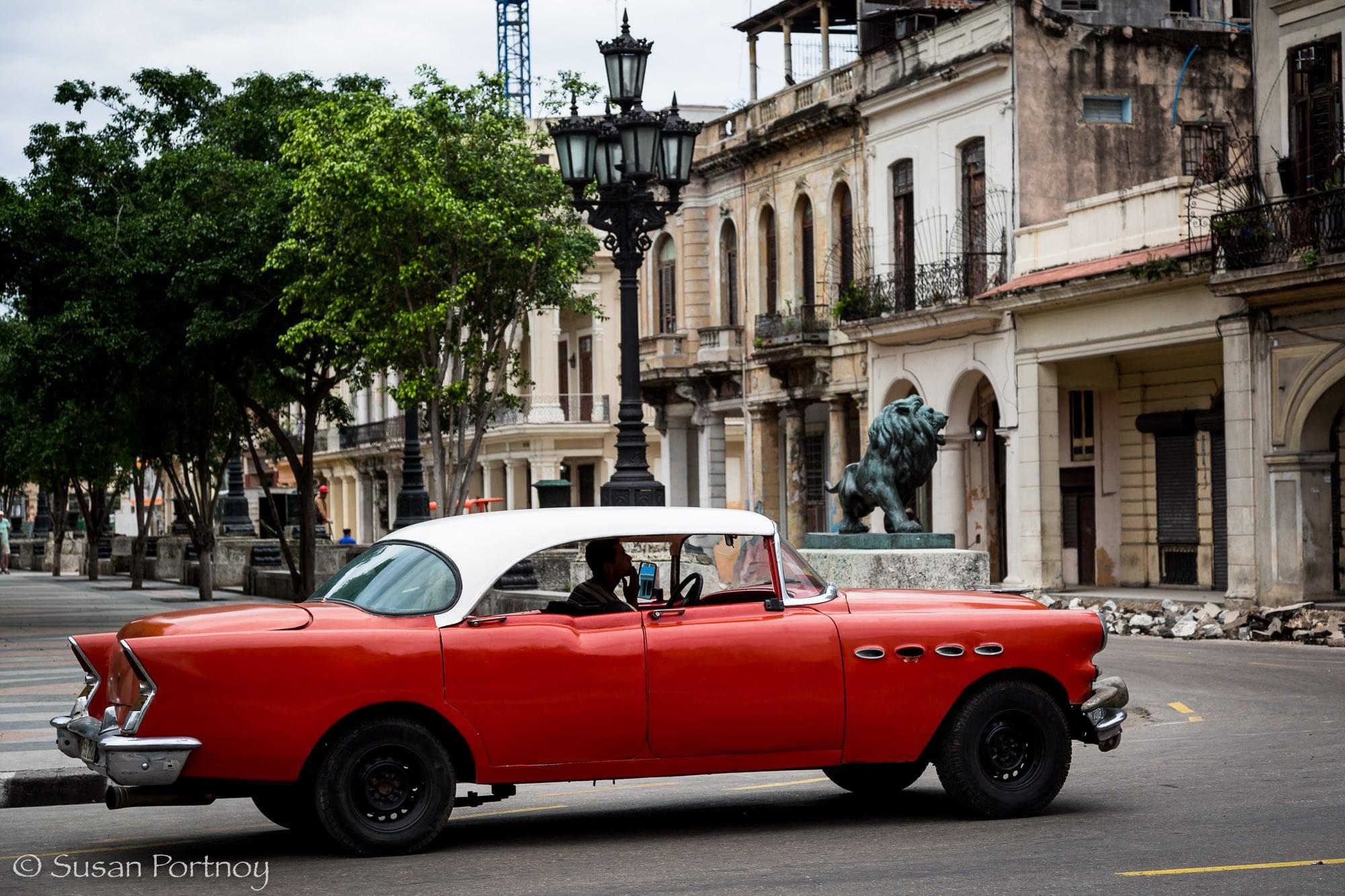 Red classic car in Havana, Cuba