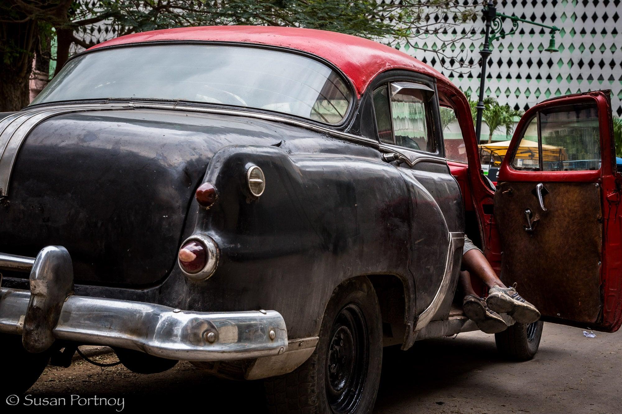 Black and red classic car in Havana, Cuba