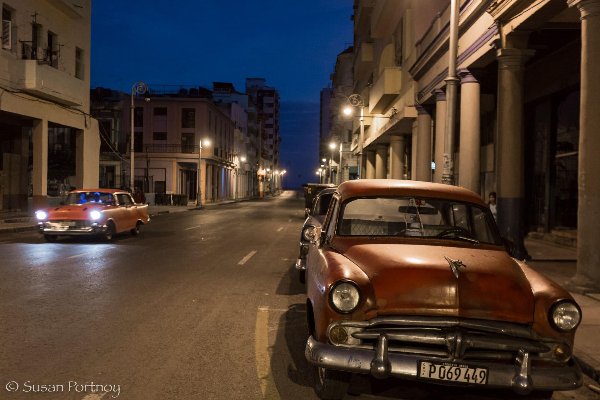 Early morning shot of red classic car in Havana. Cuba