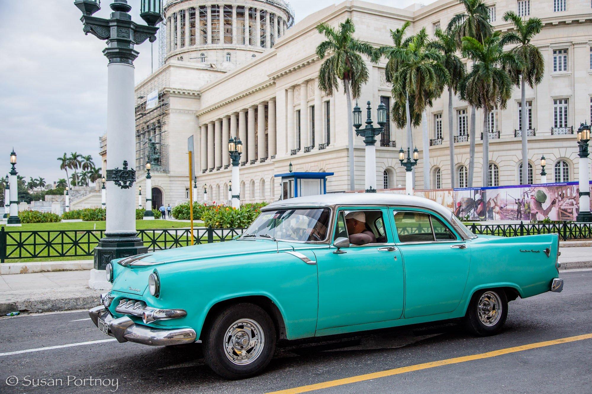 Turquoise classic car in Havana, Cuba