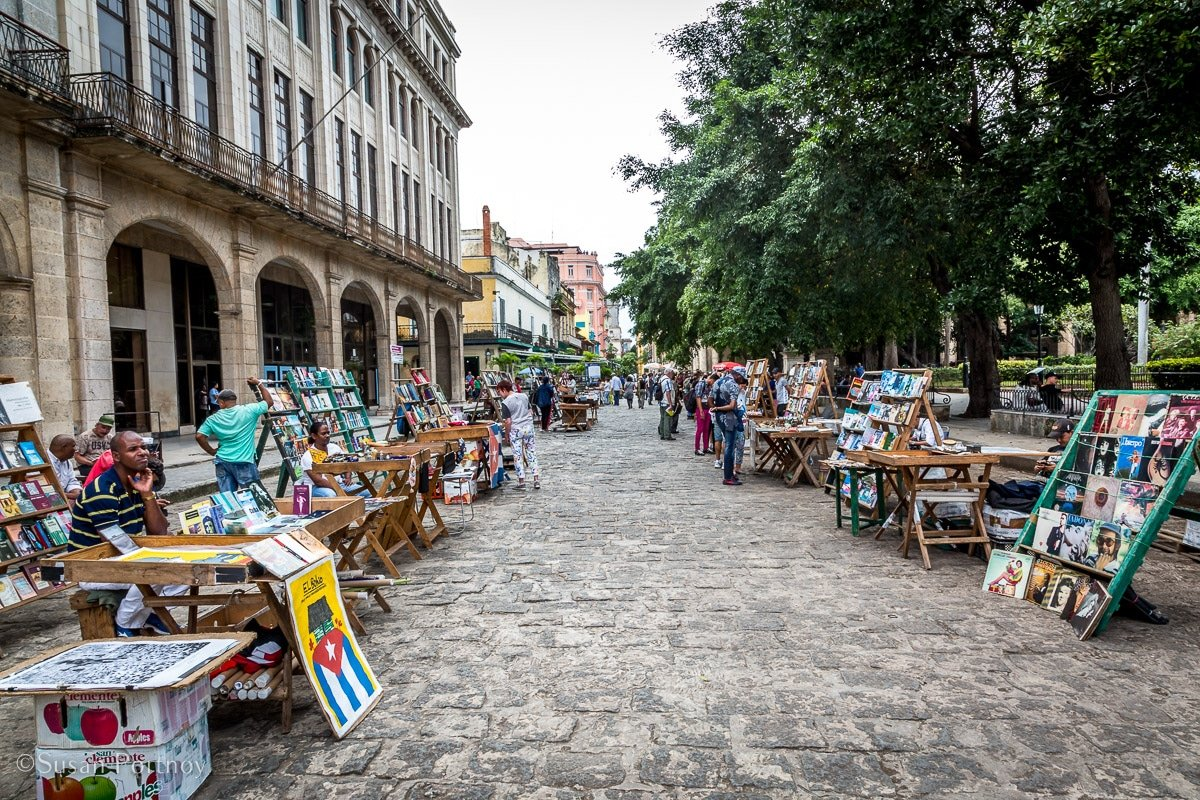 A view of a street during a market in Plaza de Armes in Havana, Cuba