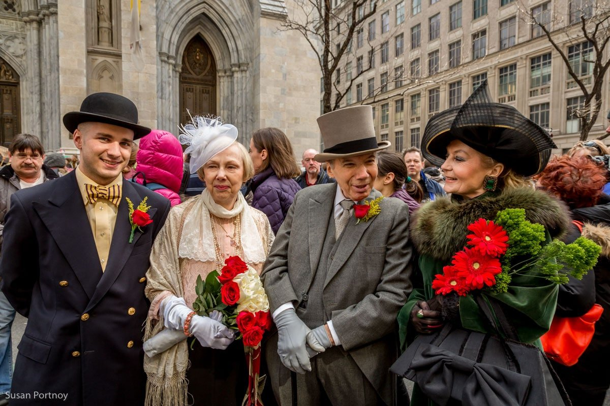 Two couples dressed in vintage costumes at the Easter Parade NYC in 2016