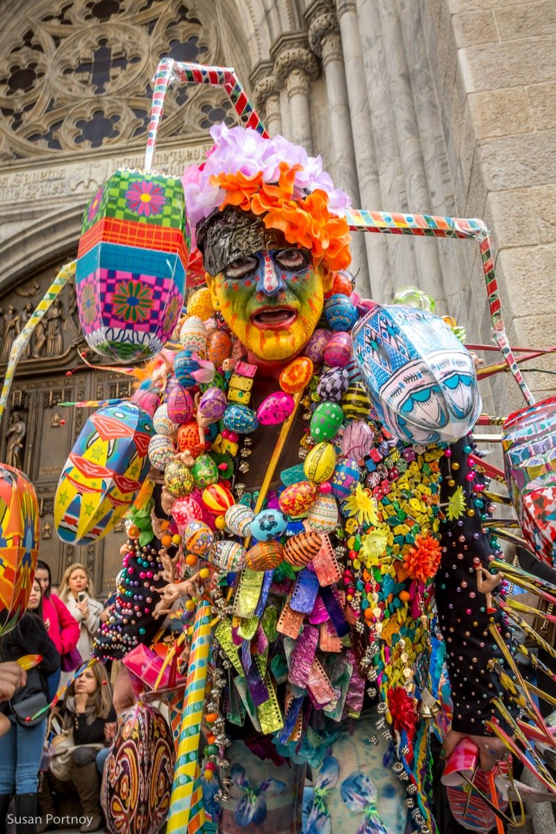 Man in crazy easter egg costume at the Easter Parade New York City 2016