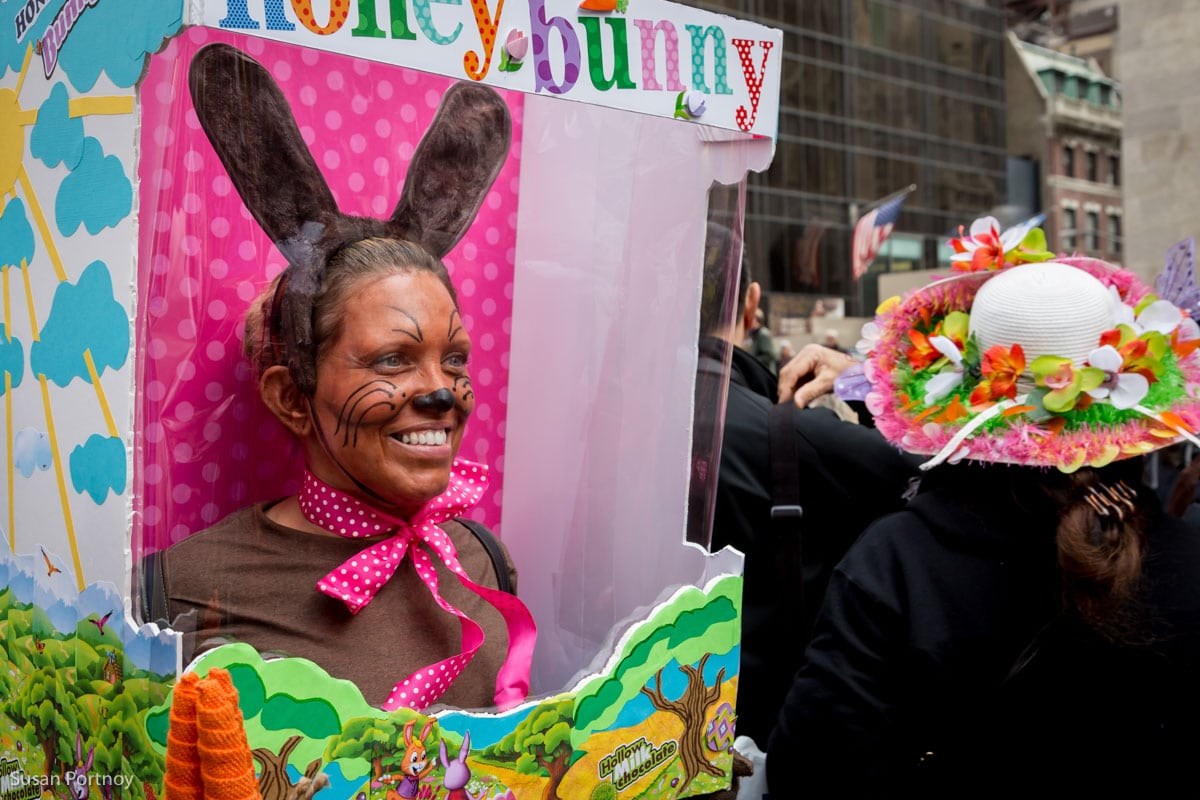 woman wearing chocolate bunny costume at the Easter Parade New York City 2016