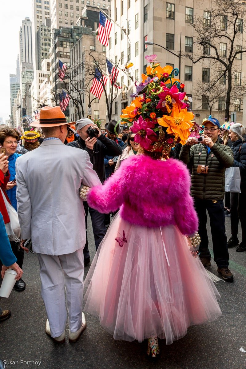 Purely Patrica in pink Flower costume in the Easter Parade NYC in 2016