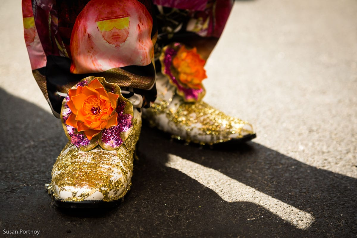 Sparkle flower shoes in the Easter Parade NYC in 2016