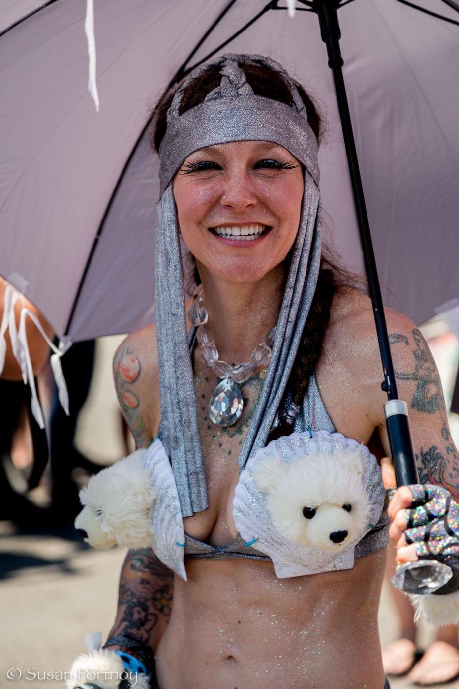 Coney IslandWoman dressed as a polarbear mermaidMermaid Parade 2016