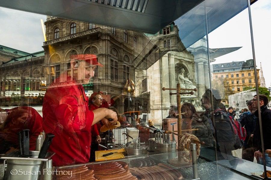 Photographing Sausage vendor in Vienna, Austria