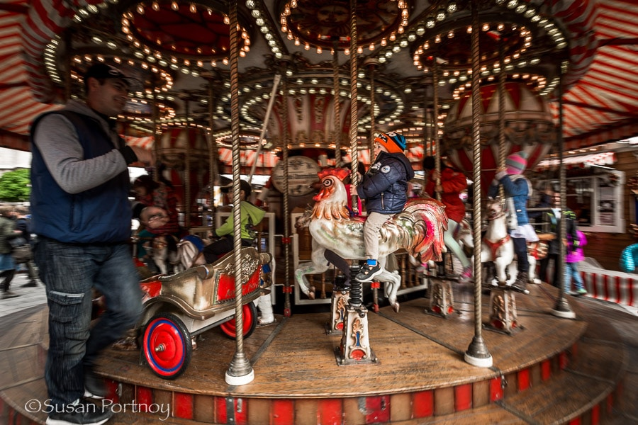Photographing carousel outside St. Stephens Cathedral in Vienna, Austria