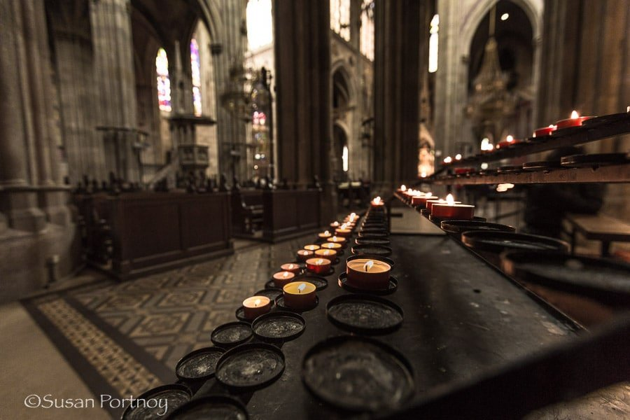 Photographing inside Votive Cathedral in Vienna, Austria