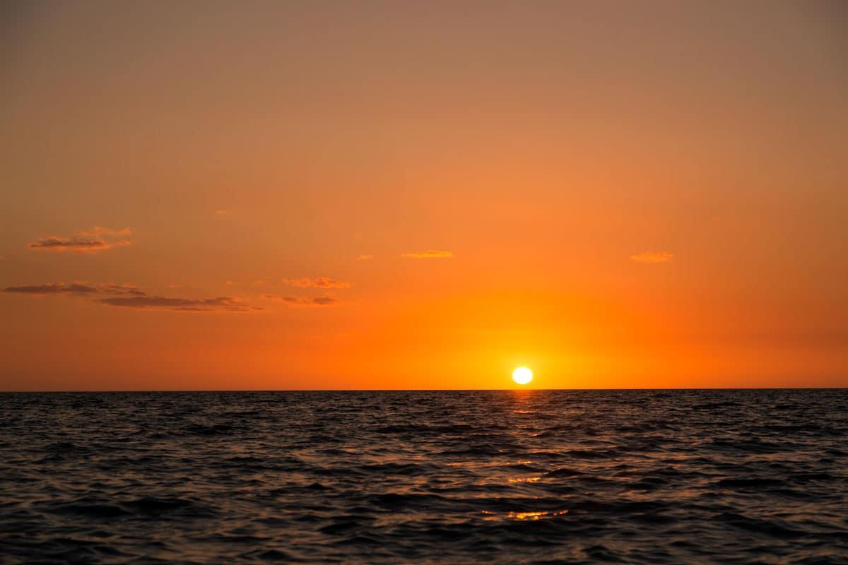 Orange sunset over the ocean