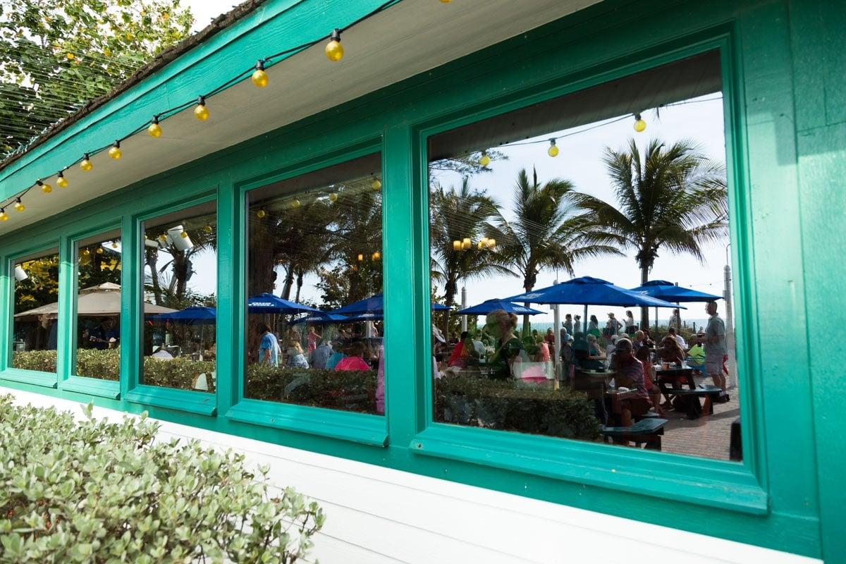 Window reflection of Mucky Duck on Captiva Island, Florida