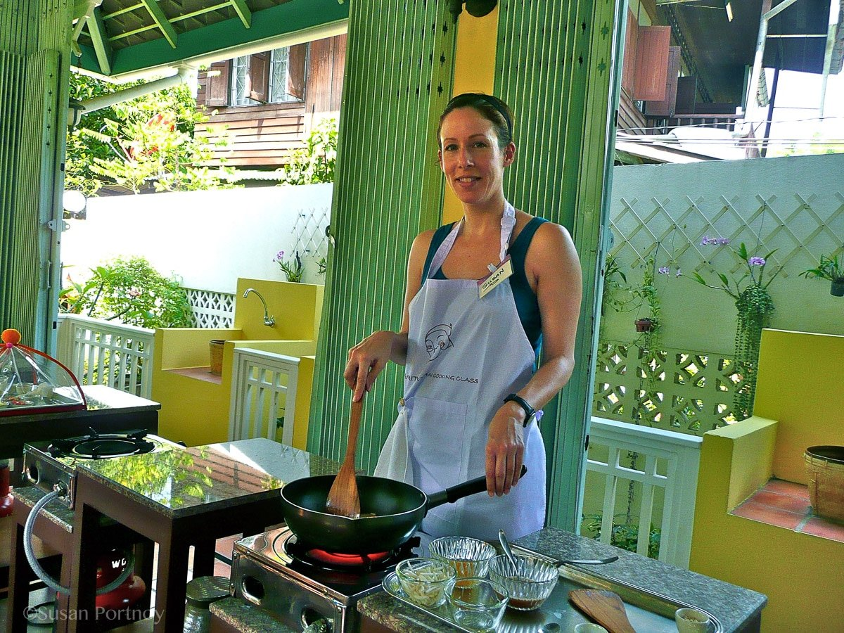 Susan Portnoy, The Insatiable Traveler learning to cook Thai food at the Amita Cooking School in Bangkok