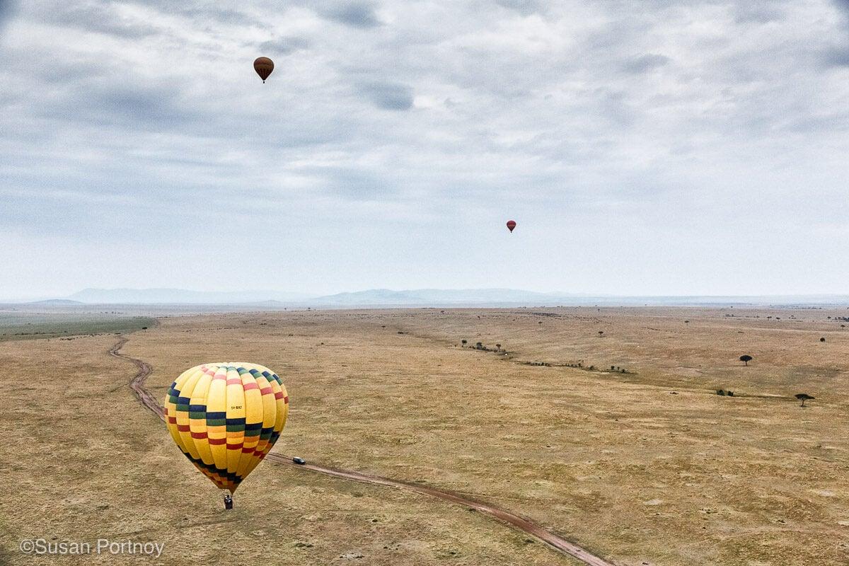 View of a hot air balloon ride in Kenya's Masai Mara