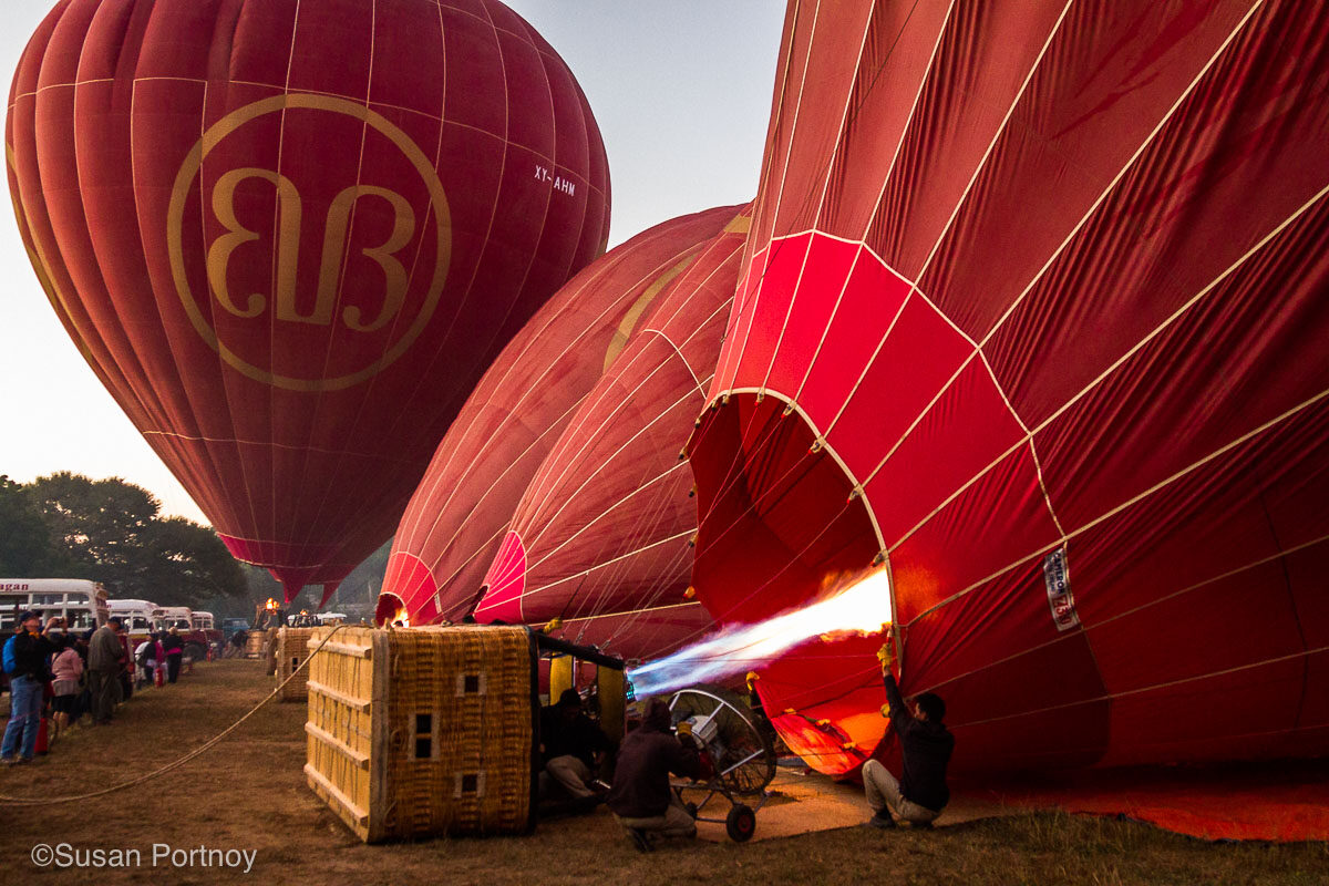 Hot Air balloons being inflated in Cappadocia preparing for a ride