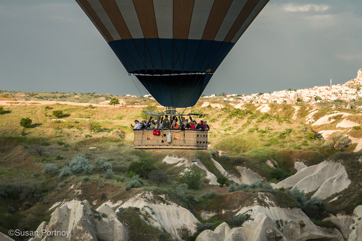 A group of people on a hot air balloon ride in Cappadocia, Turkey