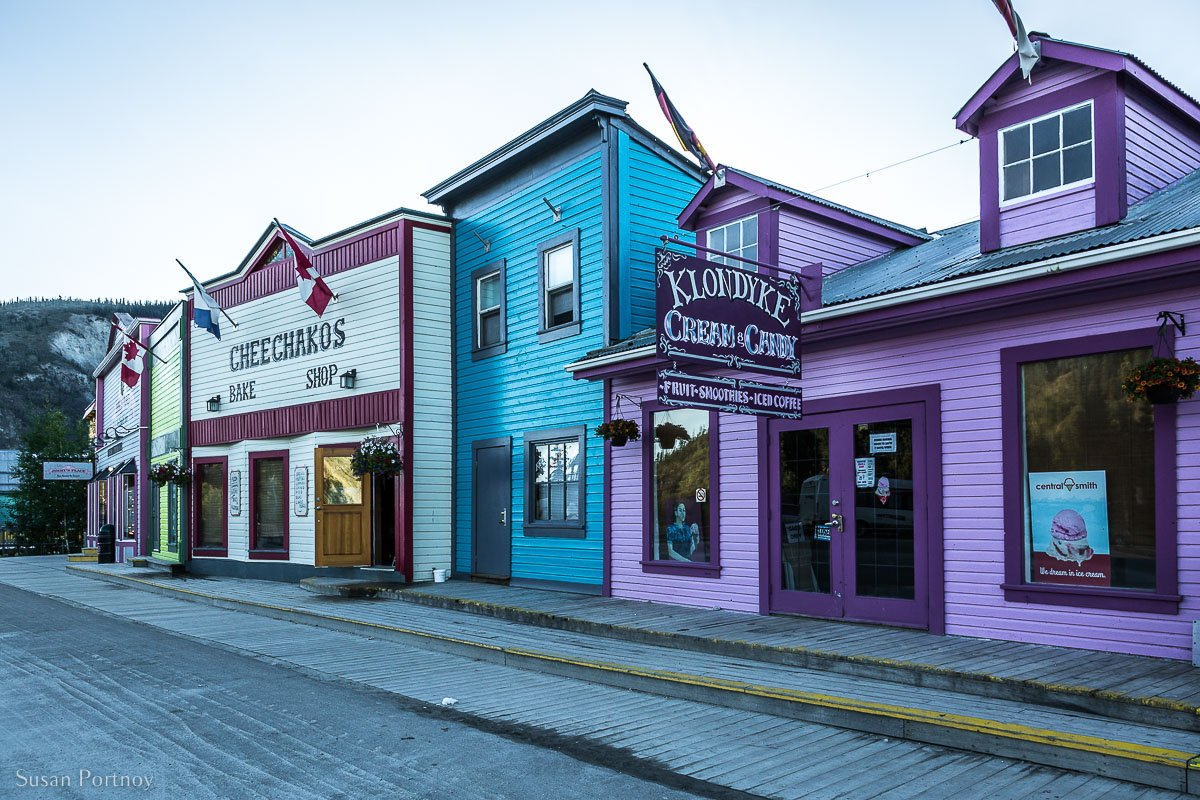 Colorful Frontier-Style commercial buildings on Main Street in Dawson City, Yukon