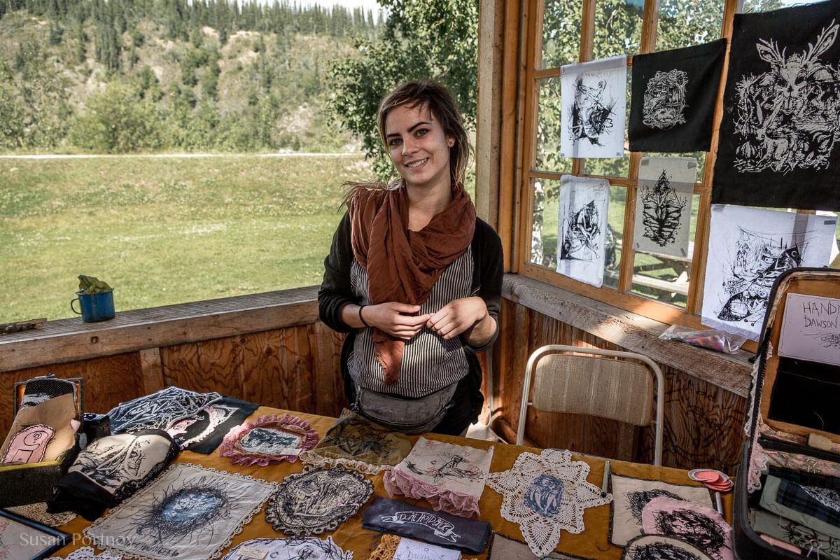 Artist Megan Creep who I met at the Saturday Artist's Market --Dawson City, the Heart of the Klondike Gold Rush