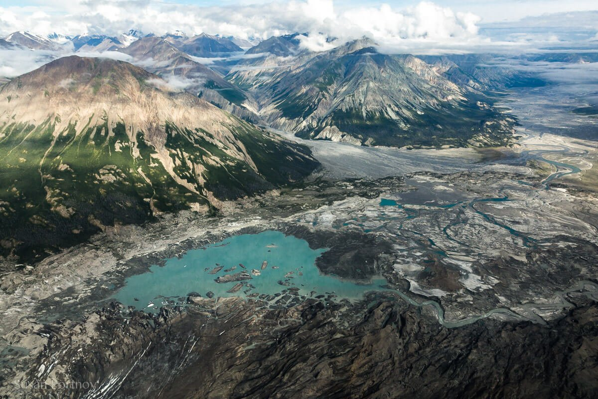 The view from the toe of the Kaskawulsh Glacier looking back down the Slims River Valley. --Kaskawulsh glacier in Yukon's Kulane National Park-1061