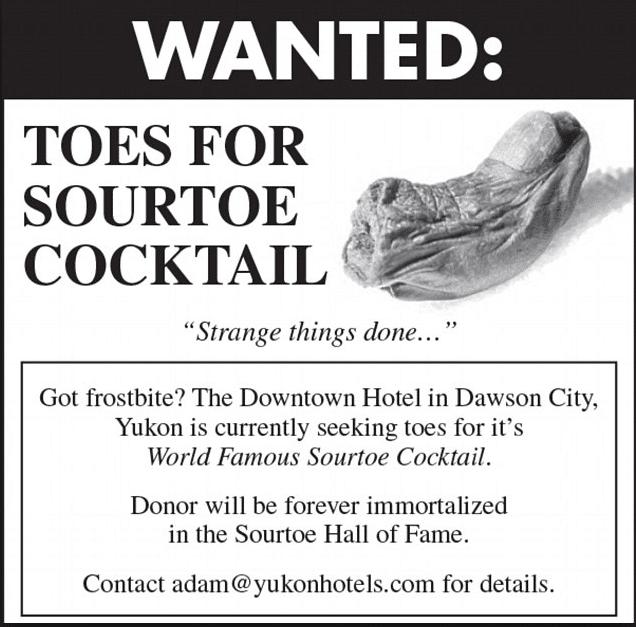 SourToe donation, Sourdough Saloon in Dawson, City