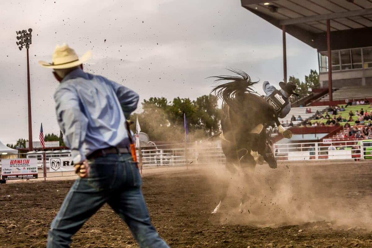 Man runs from bucking bronco at a rodeo