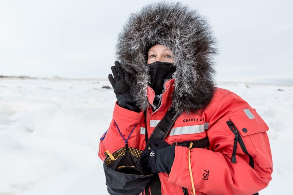 Susan Portnoy dressed in a parkaSeal River Heritage Lodge-Manitoba -Winter Packing List for Cold Weather Adventures