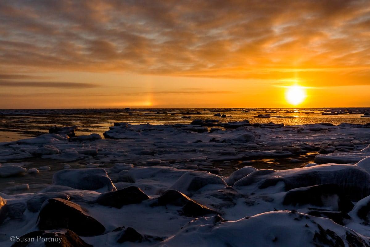 Sunrise and sun dog over Hudson Bay