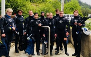 Our group of 10 ready to hit the waves. -On an Alaskan Land + Sea adventure with Holland America, I went on a lot of exciting excursions. One of my favorites: snorkeling in Ketchikan.-IMG_3129