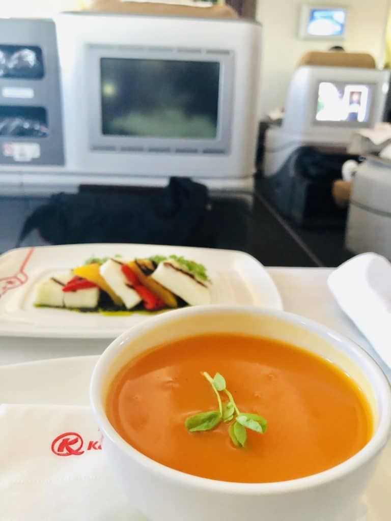 A bowl of carrot-ginger soup  inaugural flight of Kenya Airways JFK to Nairobi