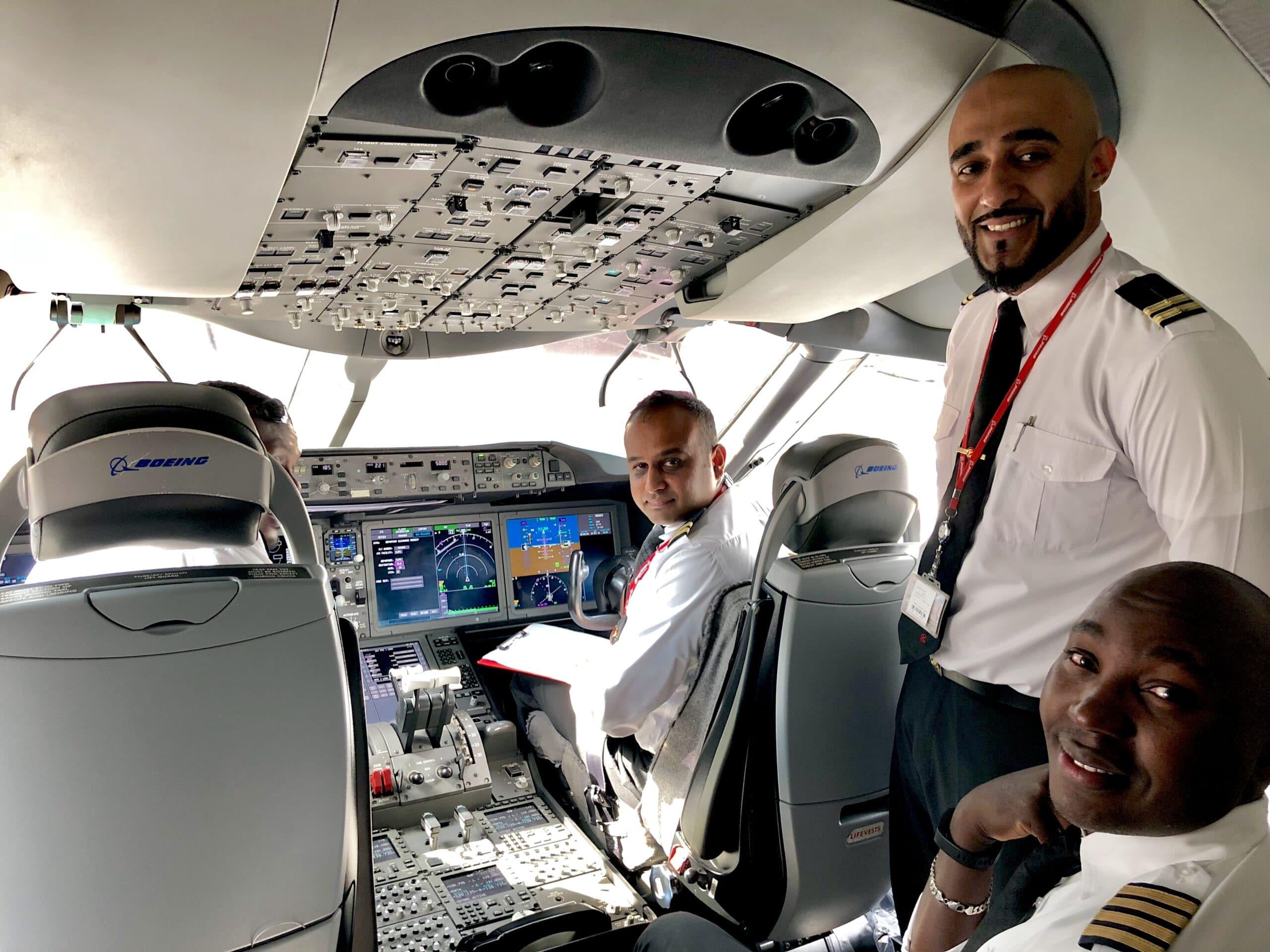 The pilots on the 787 Dreamliner - Kenya Airways from JFK to Nairobi