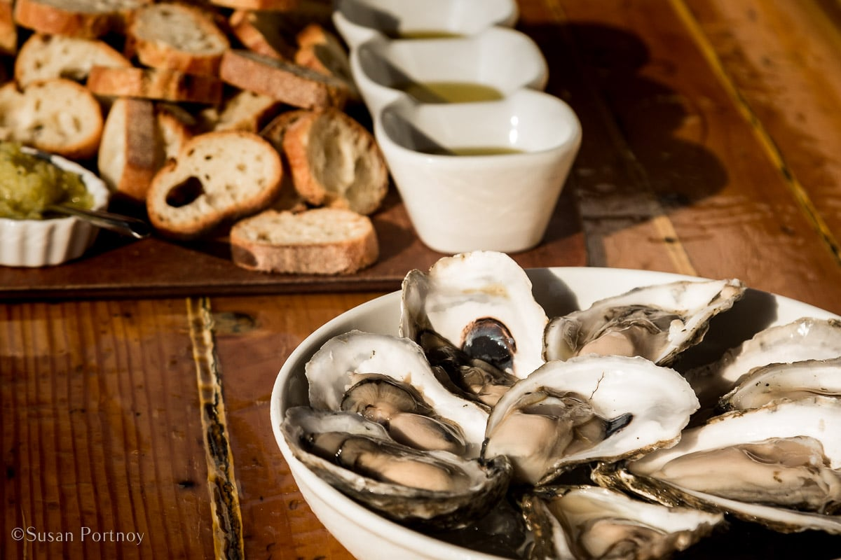 Oysters on the half-shell, fresh baked bread and various olive oils to dip - Windjammer cruise in Maine-520220180702