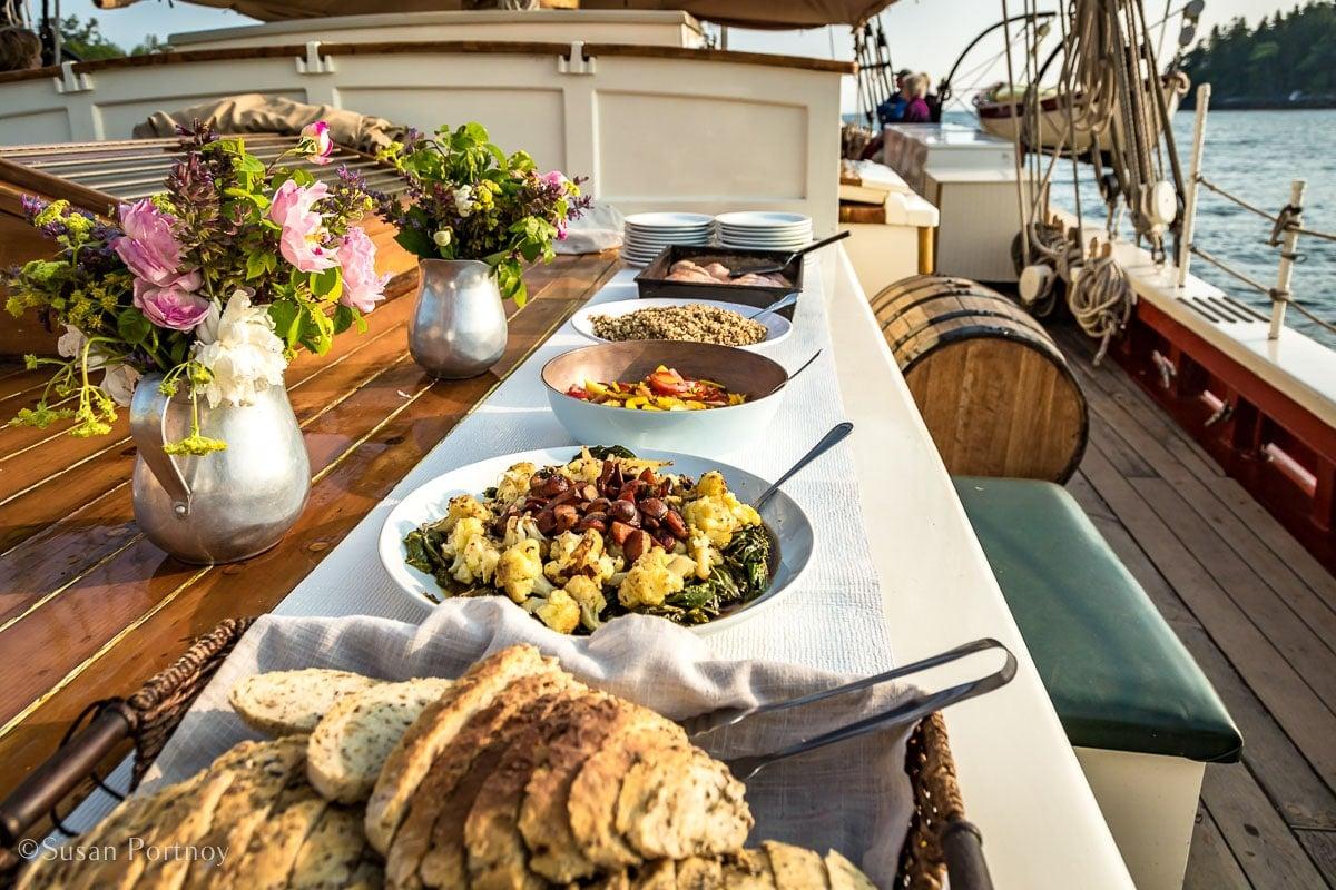 Buffet dinner on the J & E Riggin -Windjammer cruise in Maine-521520180702