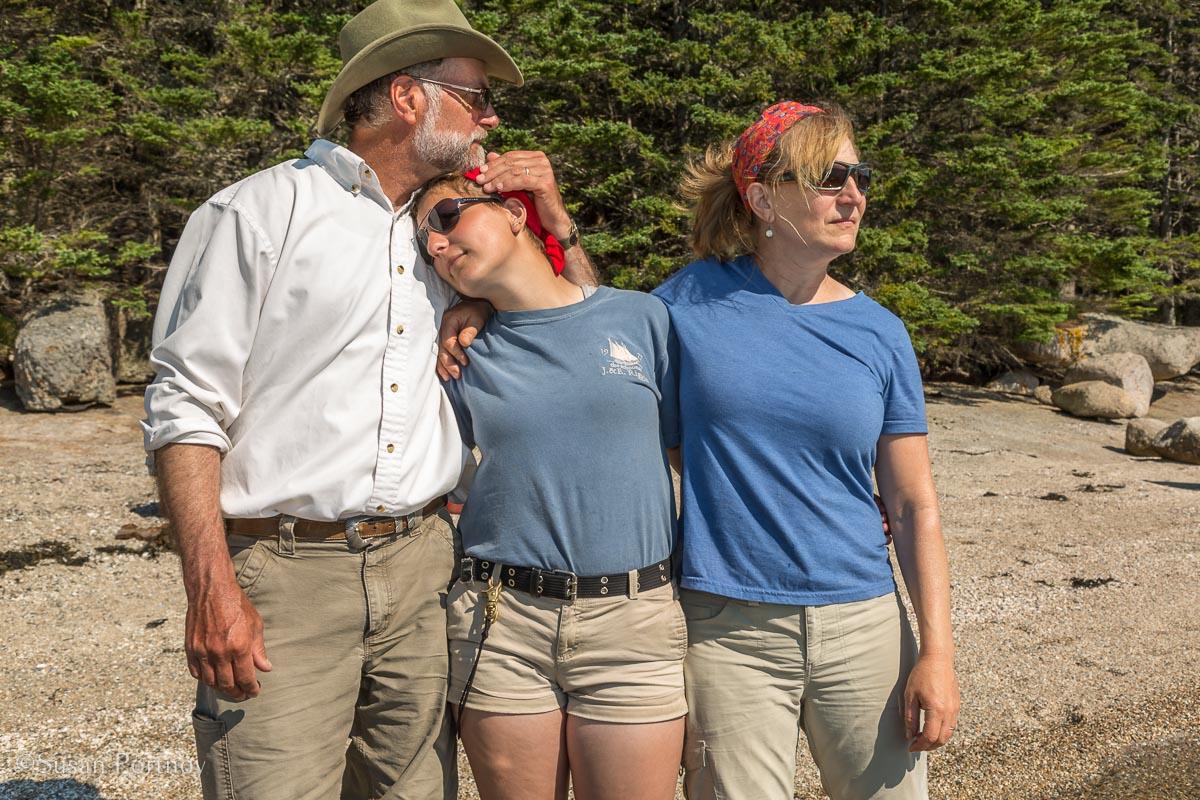 Jon Finger, Elle Finger, Annie Mahle of the J & E Riggin -Windjammer Cruise in Maine