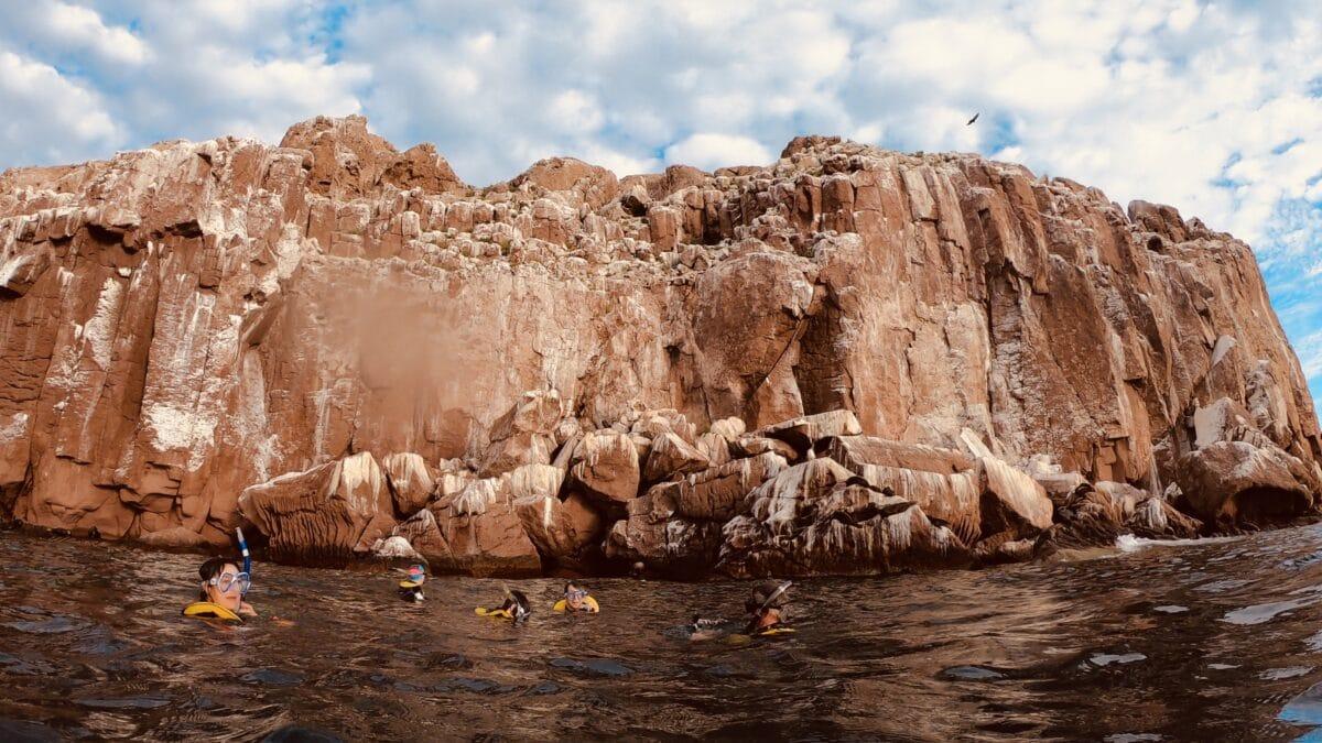 The guano-streaked rocks of the Los Islotes near Isla Espiritu Santos